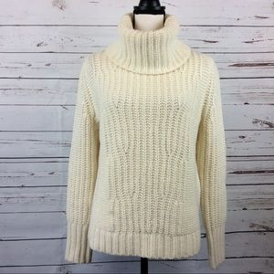 Chunky Wool/Alpaca Blend Cowl Neck Sweater, Size M